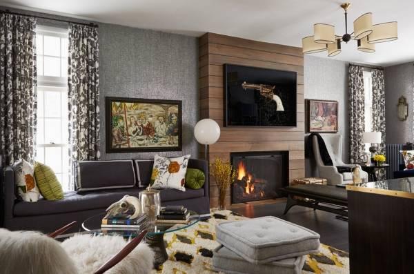 Какие выбрать шторы к серым обоям в интерьере гостиной