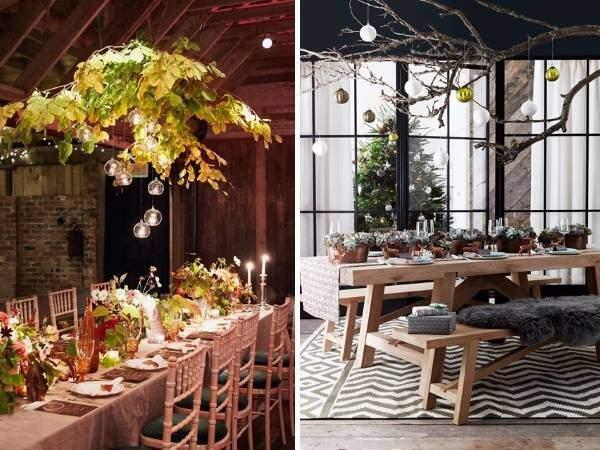 Праздничное украшение новогоднего стола - фото декора с ветками