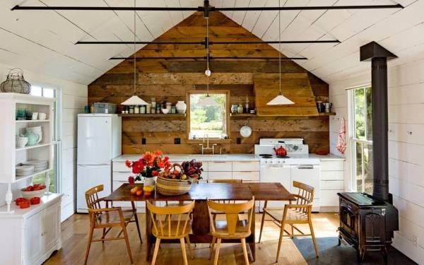 Деревянный дом внутри - фото в скандинавском стиле