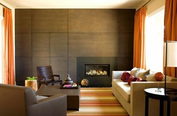 Деревянные панели для внутренней отделки стен - фото гостиной