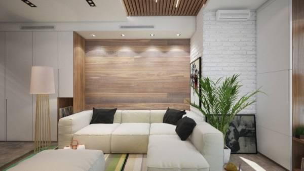 Отделка стен деревянными панелями - фото гостиной в современном стиле