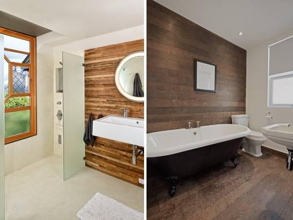 Деревянные панели для внутренней отделки стен - фото ванной комнаты
