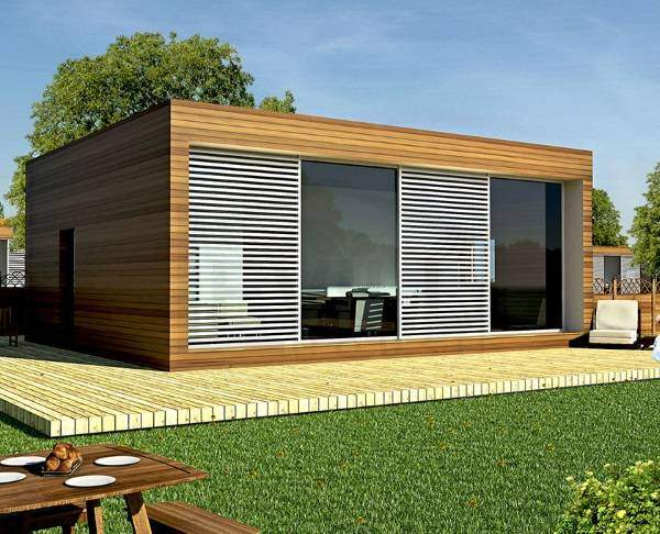 Одноэтажный дом в стиле хай тек из клееного бруса