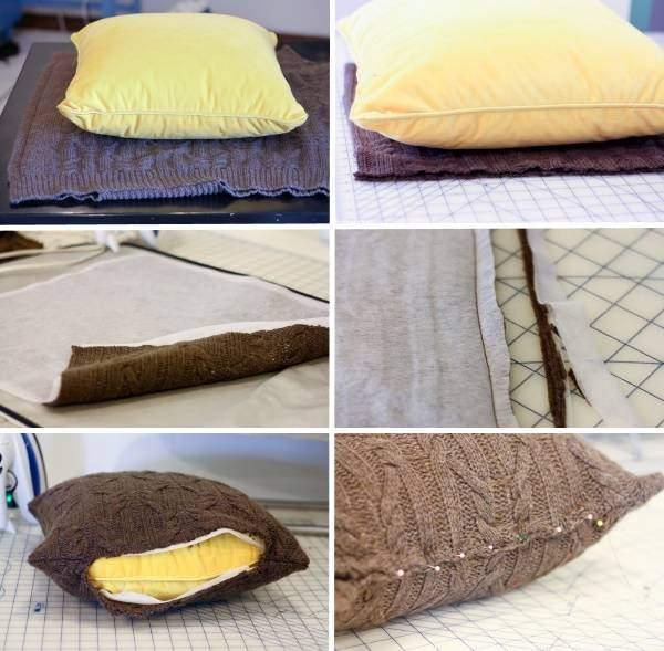 Красивые диванные подушки из подручных материалов