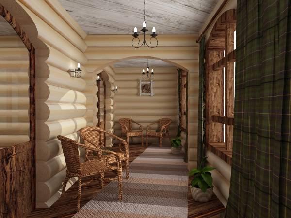 Дизайн интерьера деревянного дома из бревен внутри - фото