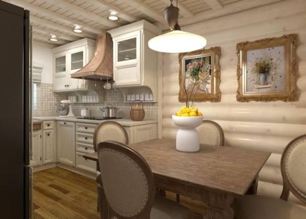 Интерьер деревянного дома из бревна в стиле прованс - фото внутри