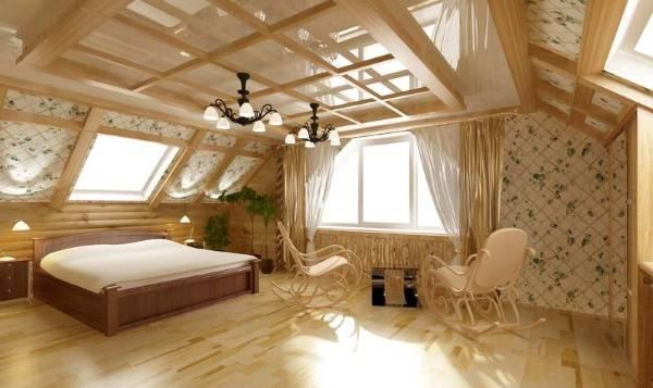 Дизайн интерьера мансарды в деревянном доме