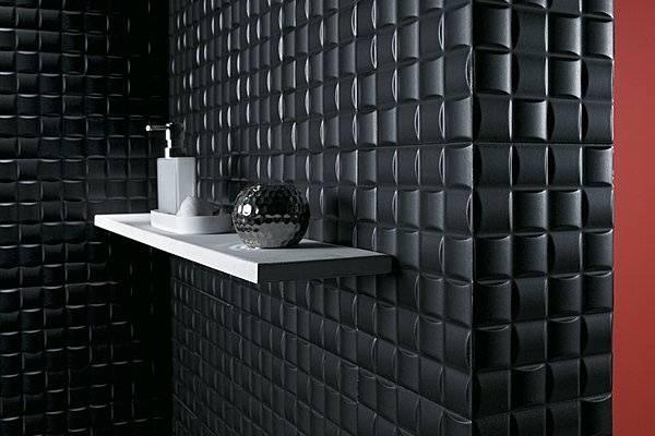 Модные обои для стен под черную плитку