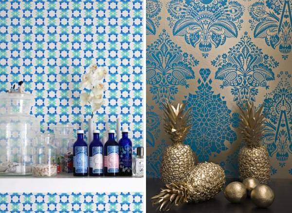 Модные обои для стен 2016 года - фото в синем цвете