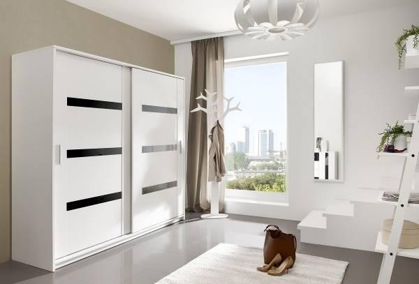 Современный дизайн шкафов купе в прихожую в белом цвете