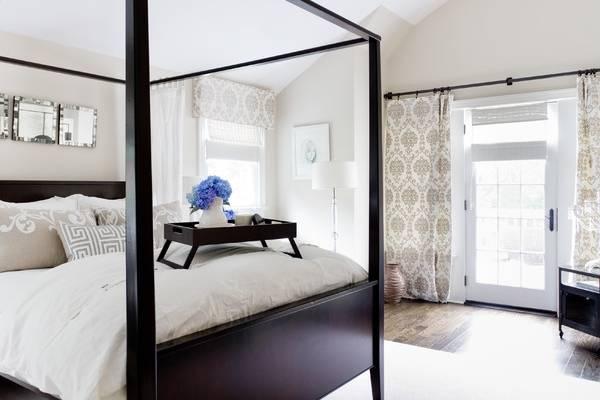 Шторы в спальню - дизайн фото новинки с красивым узором