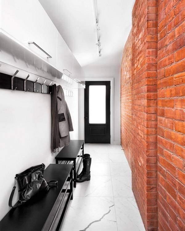 Маленький узкий коридор - дизайн фото в стиле лофт