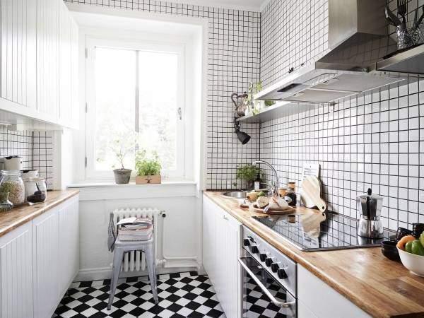 Маленькая кухня в квартире в скандинавском стиле