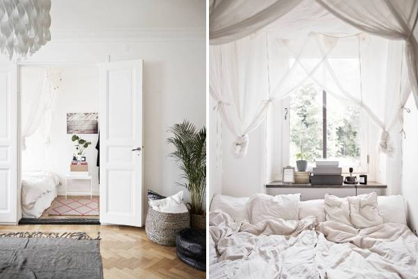 Скандинавский интерьер спальни в малогабаритной квартире