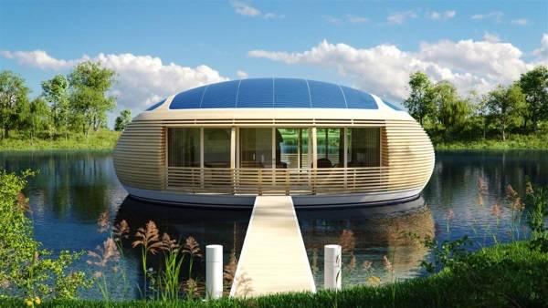 Небольшой дом в стиле хай тек на воде