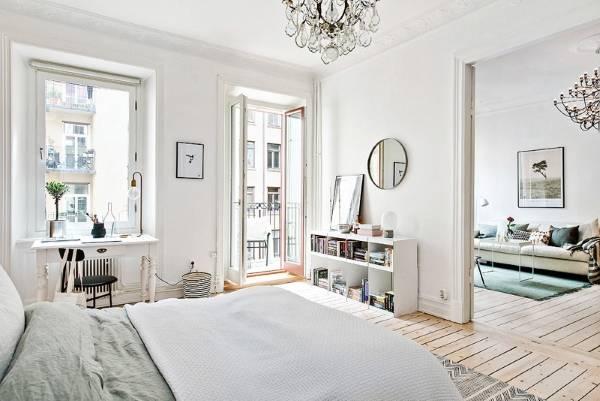 Двухкомнатная квартира в скандинавском стиле - фото спальня гостиная