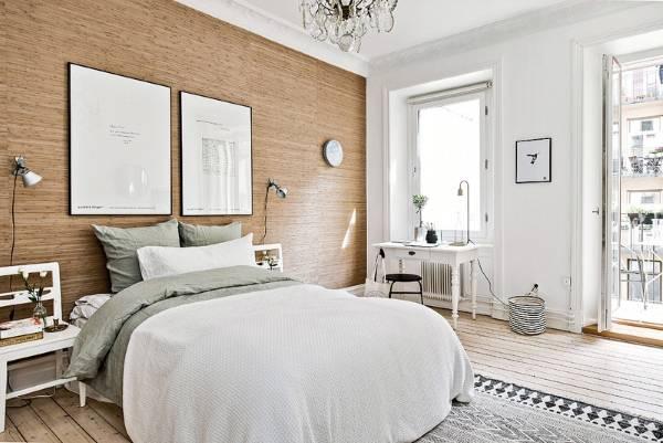 Дизайн двухкомнатной квартиры в скандинавском стиле - фото спальни