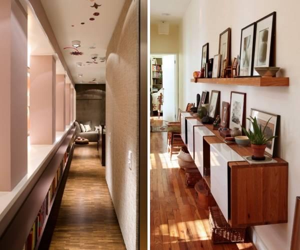 Длинный узкий коридор с настенной мебелью и полками