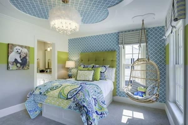 Голубые обои в комнату для подростка девочки