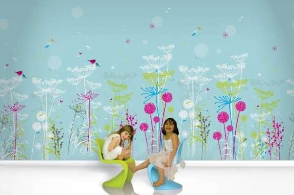 Детские обои для стен для девочек - фото в голубом цвете