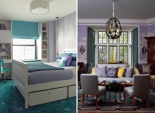 Какие шторы подойдут к сиреневым обоям - фото комнат
