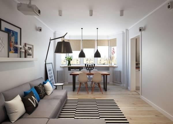 Двухкомнатная квартира в скандинавском стиле - фото гостиной