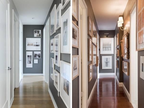 Дизайн узкого коридора в квартире с фото и картинами на стенах