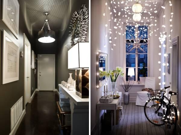 Интерьер узкого коридора в квартире - фото светильников