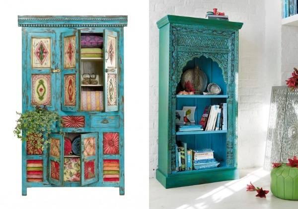 Мебель в восточном стиле - бирюзовые шкафы из Индии
