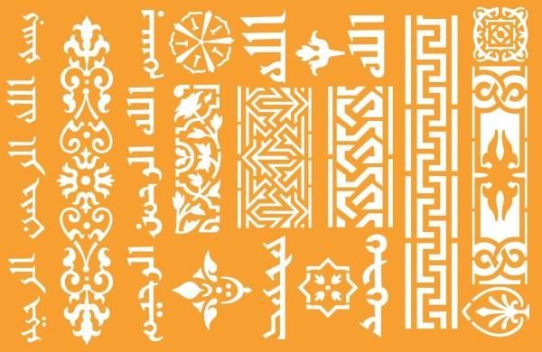 Трафарет с восточными орнаментами и мотивами для мебели