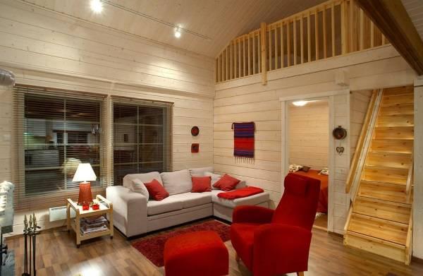 Современный интерьер деревянного дома из бруса