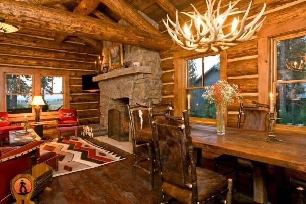 Интерьер деревянного дома внутри - фото в стиле шале