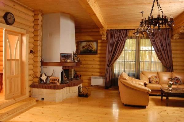Современный интерьер деревянного дома из бревна внутри - фото