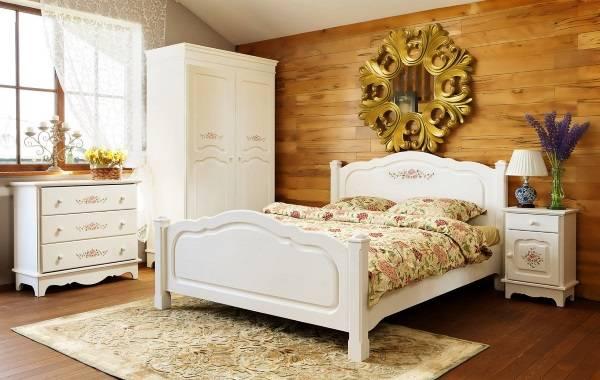 Кровать, шкаф, комод и другая мебель в стиле прованс для спальни