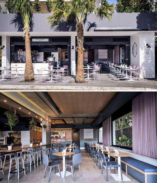 Современный дизайн кафе в стиле лофт и пастельных тонах