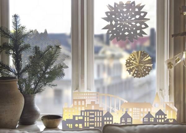 Как украсить окна на Новый год 2017 с бумагой
