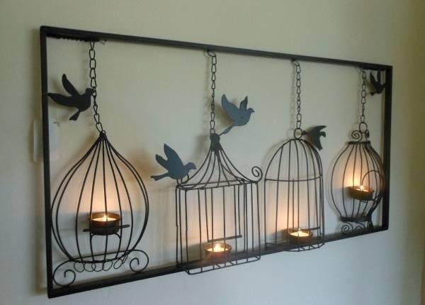 Кованые подсвечники в виде птичьих клеток