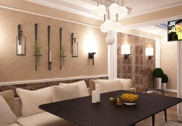 Настенный декор интерьера - подсвечники кованые на фото