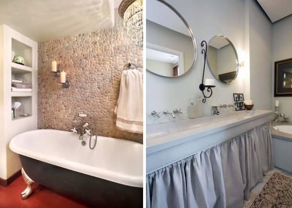 Кованые подсвечники - фото в интерьере ванной комнаты