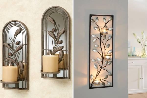 Кованые подсвечники на стену в виде растений и цветов