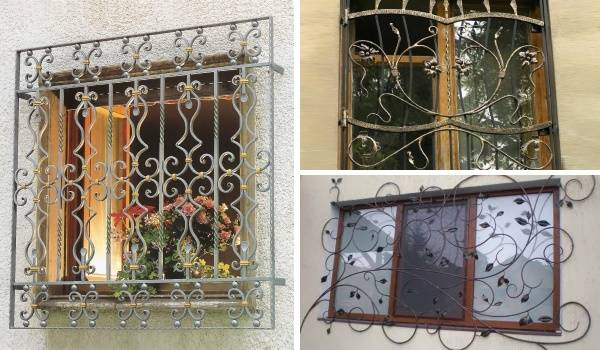 Кованые решетки на окна - эскизы и фото идей