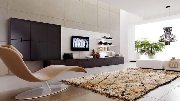 Небольшие ковры с длинным ворсом в интерьере - фото зала