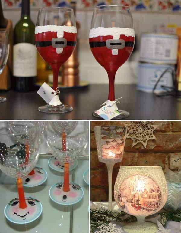Идеи украшения новогоднего стола - праздничные бокалы