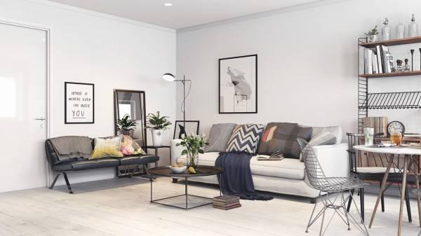 Скандинавская квартира студия - фото гостиной и прихожей