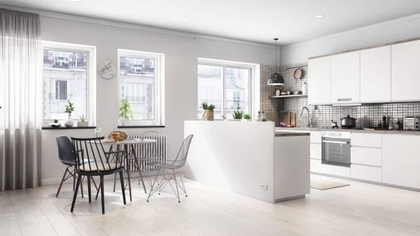 Кухня и обеденная зона в скандинавской квартире студии