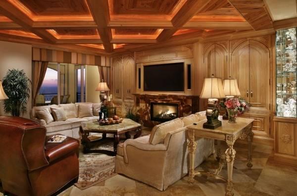 Деревянный потолок с подсветкой - фото led подсветки в интерьере