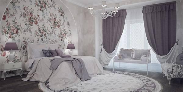 Современные лиловые шторы в спальню - фото в интерьере