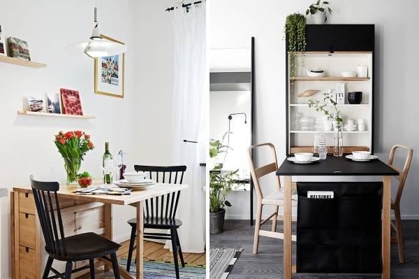 Раскладная мебель для обеденной зоны на маленькой кухне
