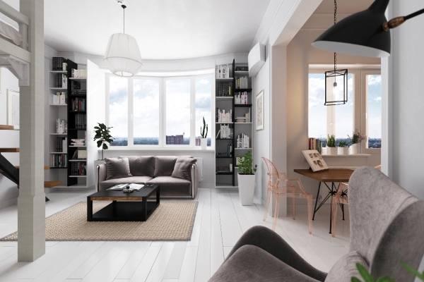Дизайн однокомнатной квартиры с кроватью чердаком