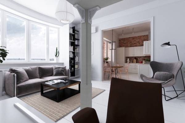 Небольшая скандинавская квартира со спальней в зале
